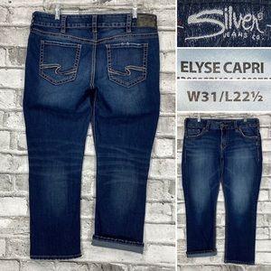 Silver Jeans Elyse Capri Womens Size 31 Stretch Denim Cropped Jeans